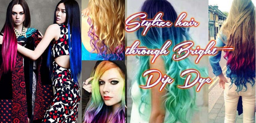 Bright dip dye hair