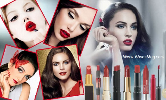 Red lipstick and Eye makeup
